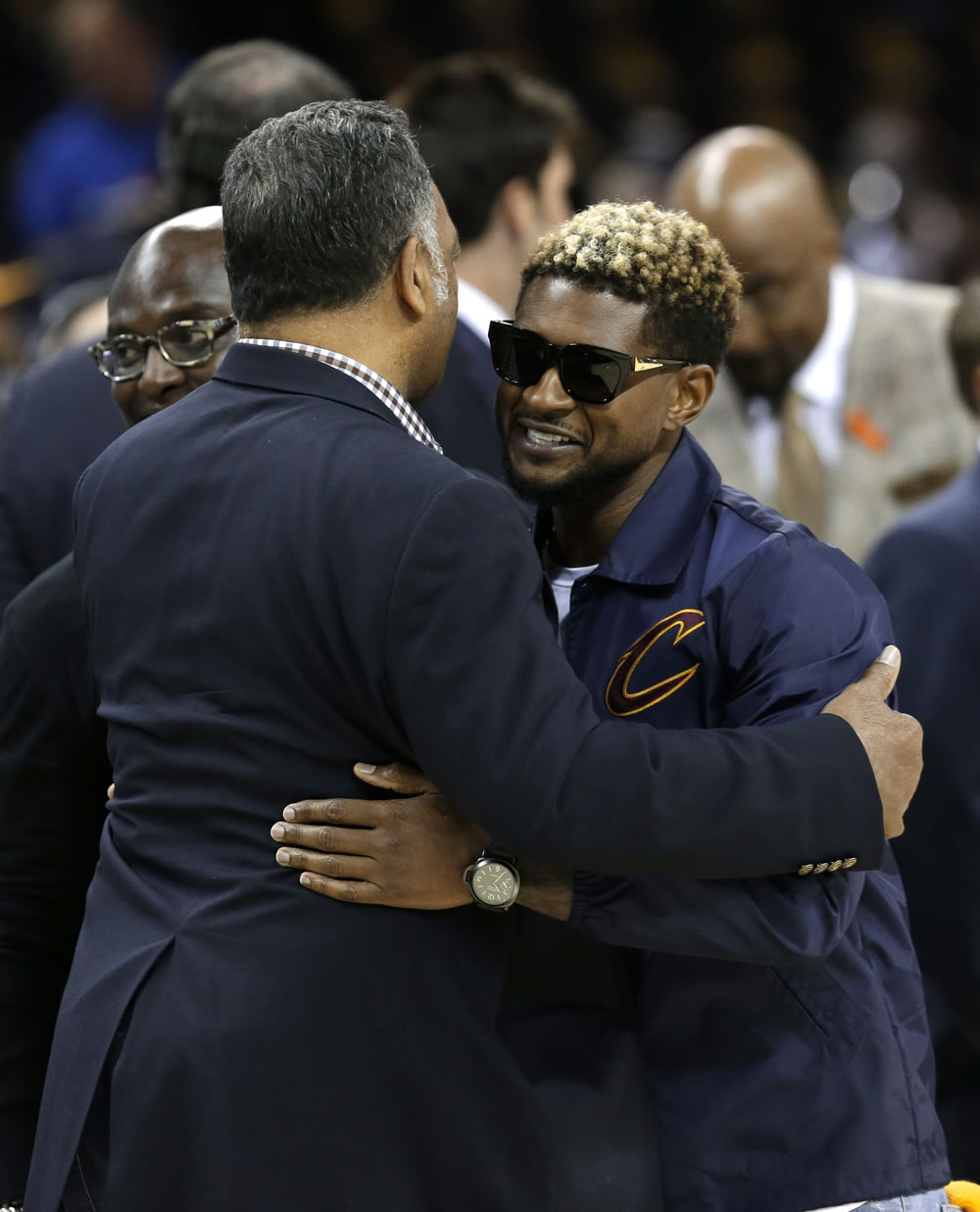 <div class='meta'><div class='origin-logo' data-origin='none'></div><span class='caption-text' data-credit='AP'>Usher greets the Reverand Jesse Jackson at Quicken Loans Arena during game three of the NBA Finals in Cleveland, Ohio on June 7, 2017.</span></div>