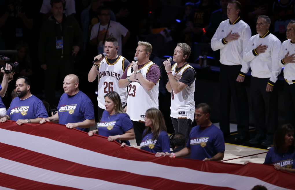 "<div class=""meta image-caption""><div class=""origin-logo origin-image none""><span>none</span></div><span class=""caption-text"">Rascal Flatts performs the national anthem before Game 3 of the NBA Finals between the Cleveland Cavaliers and the Golden State Warriors in Cleveland, Wednesday, June 7, 2017. (AP Photo/Tony Dejak)</span></div>"