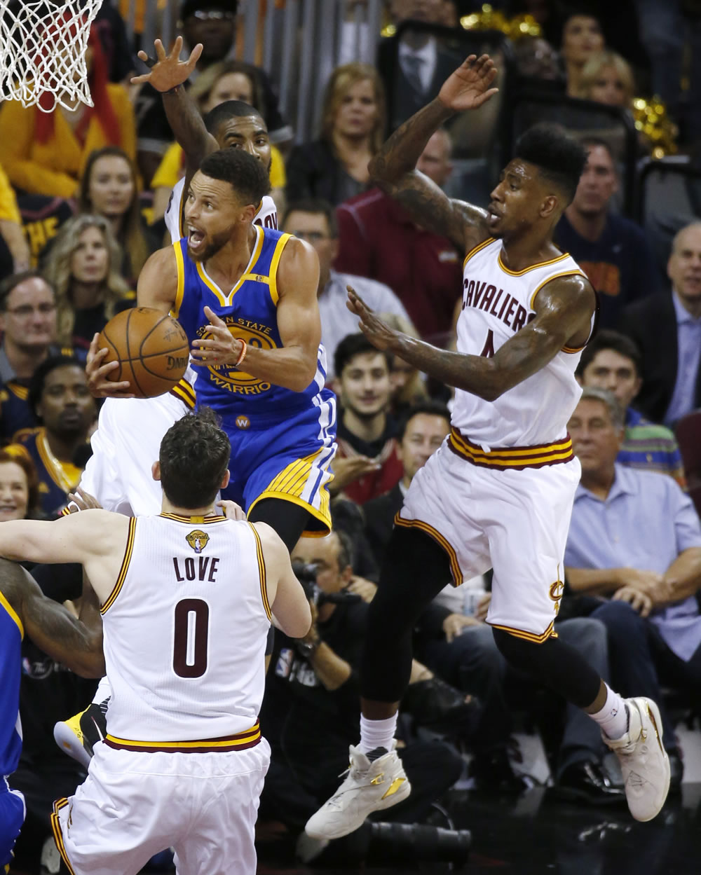 "<div class=""meta image-caption""><div class=""origin-logo origin-image none""><span>none</span></div><span class=""caption-text"">Steph Curry flies above Kevin Love during game three of the NBA Finals on Monday, June 6, 2017. (KGO-TV)</span></div>"