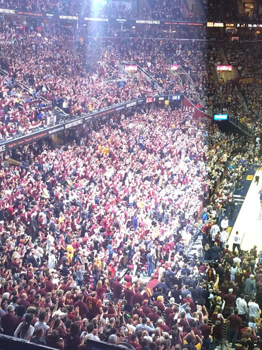 "<div class=""meta image-caption""><div class=""origin-logo origin-image none""><span>none</span></div><span class=""caption-text"">This image shows the crowd inside the Quicken Loans Arena in Cleveland, Ohio during Game 3 of the NBA Finals June 8, 2016. (KGO-TV)</span></div>"