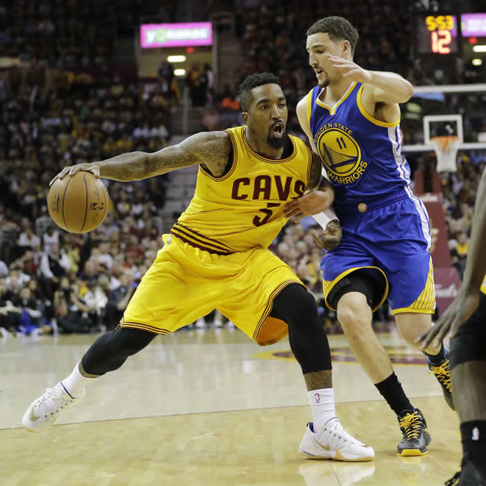 <div class='meta'><div class='origin-logo' data-origin='none'></div><span class='caption-text' data-credit=''>Cavaliers' J.R. Smith drives on Warriors' Klay Thompson during the first half of Game 3 of basketball's NBA Finals in Cleveland, Tuesday, June 9, 2015. (AP Photo/Tony Dejak)</span></div>
