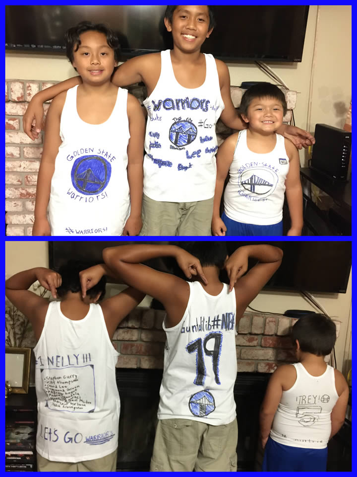 <div class='meta'><div class='origin-logo' data-origin='none'></div><span class='caption-text' data-credit='Photo submitted to KGO-TV by Anabelle M./uReport'>These boys decided to make their own jerseys to show their love for the Warriors! Tag your photos on Facebook, Twitter, Google Plus or Instagram using #DubsOn7.</span></div>