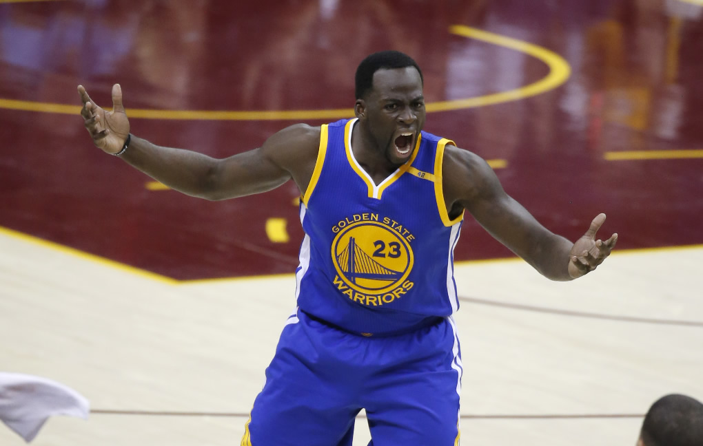 """<div class=""""meta image-caption""""><div class=""""origin-logo origin-image none""""><span>none</span></div><span class=""""caption-text"""">Warriors forward Draymond Green (23) reacts to a foul against the Cleveland Cavaliers in the first half of Game 4 of the NBA Finals in Cleveland, Friday, June 9, 2017.  (AP Photo/Ron Schwane)</span></div>"""