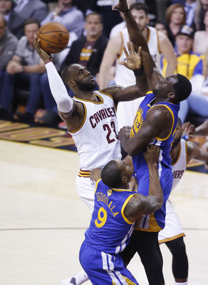 """<div class=""""meta image-caption""""><div class=""""origin-logo origin-image none""""><span>none</span></div><span class=""""caption-text"""">Cavaliers forward LeBron James (23) drives on Warriors forward Draymond Green (23) during the first half of Game 4 of basketball's NBA Finals in Cleveland on June 9, 2017. (AP Photo/Ron Schwane)</span></div>"""