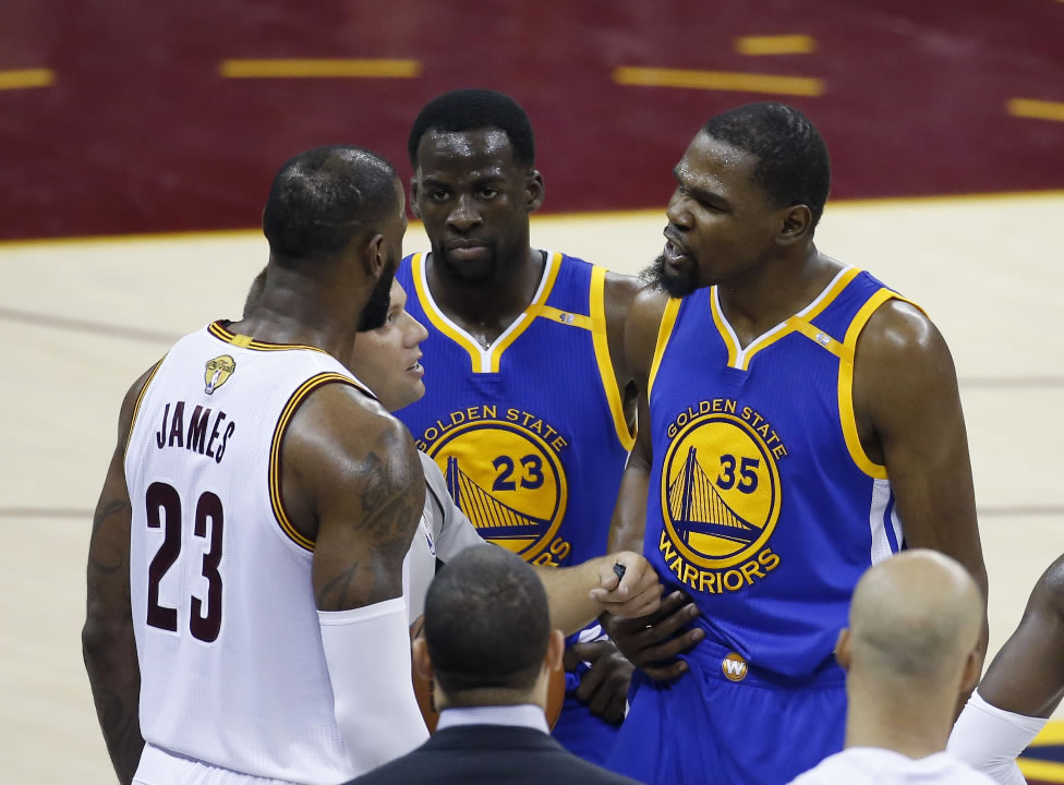 """<div class=""""meta image-caption""""><div class=""""origin-logo origin-image none""""><span>none</span></div><span class=""""caption-text"""">Warriors forward Kevin Durant (35) argues with Cavaliers forward LeBron James (23) in the second half of Game 4 of basketball's NBA Finals in Cleveland on June 9, 2017. (AP Photo/Ron Schwane)</span></div>"""