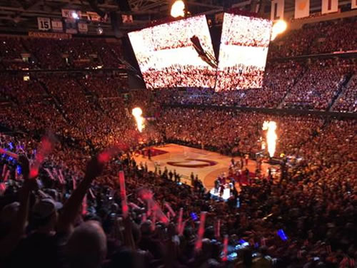 <div class='meta'><div class='origin-logo' data-origin='none'></div><span class='caption-text' data-credit='KGO-TV'>The Warriors and the Cavaliers lineup on court ahead of Game 4 Thursday, June 11, 2015 in Cleveland, Ohio.</span></div>