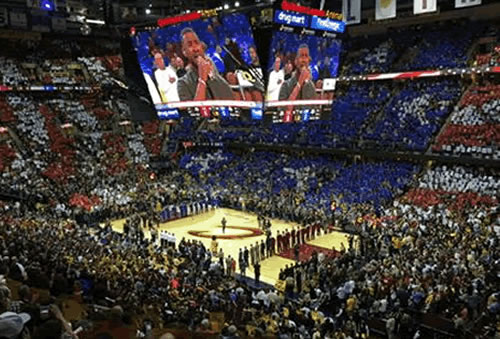 <div class='meta'><div class='origin-logo' data-origin='none'></div><span class='caption-text' data-credit='KGO-TV'>Usher sings the National Anthem on Game 4 of the NBA Finals Thursday, June 11, 2015 in Cleveland, Ohio.</span></div>