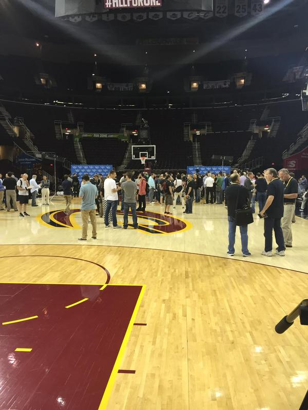 <div class='meta'><div class='origin-logo' data-origin='none'></div><span class='caption-text' data-credit='KGO-TV'>It was media madness at practice on Wednesday, June 10, 2015 in Cleveland, Ohio.</span></div>