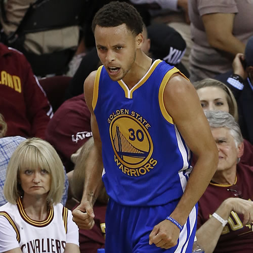 <div class='meta'><div class='origin-logo' data-origin='none'></div><span class='caption-text' data-credit='AP Photo/Paul Sancya'>Golden State Warriors guard Stephen Curry (30) reacts during the second half of Game 4 of basketball's NBA Finals against the Cleveland Cavaliers, in Cleveland.</span></div>