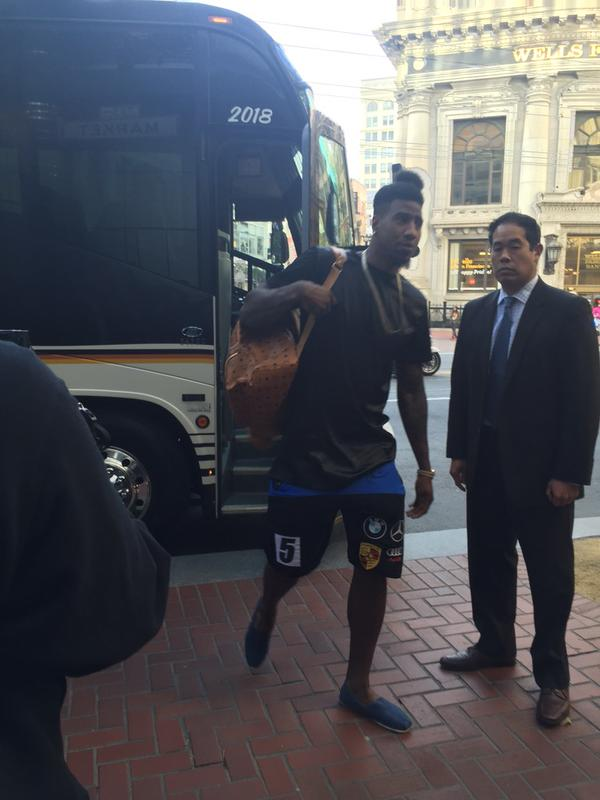 <div class='meta'><div class='origin-logo' data-origin='none'></div><span class='caption-text' data-credit='KGO-TV'>The Cleveland Cavaliers arrive at their hotel in San Francisco, Calif. on Friday, June 12, 2015.</span></div>