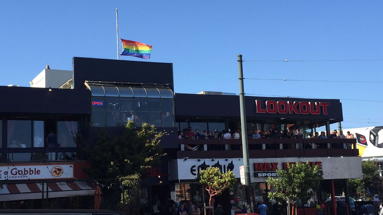 <div class='meta'><div class='origin-logo' data-origin='none'></div><span class='caption-text' data-credit='KGO-TV/Elissa Harrington'>This image shows the pride flag at half staff in San Francisco's Castro District following the mass shooting at a gay nightclub in Orlando, Fla., on Sunday, June 12, 2016.</span></div>