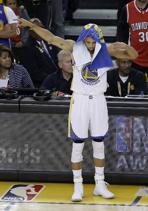 <div class='meta'><div class='origin-logo' data-origin='none'></div><span class='caption-text' data-credit='AP Photo/Ben Margot'>Warriors guard Stephen Curry (30) gestures during the first half of Game 5 of basketball's NBA Finals against the Cavaliers in Oakland, Calif., Monday, June 12, 2017.</span></div>