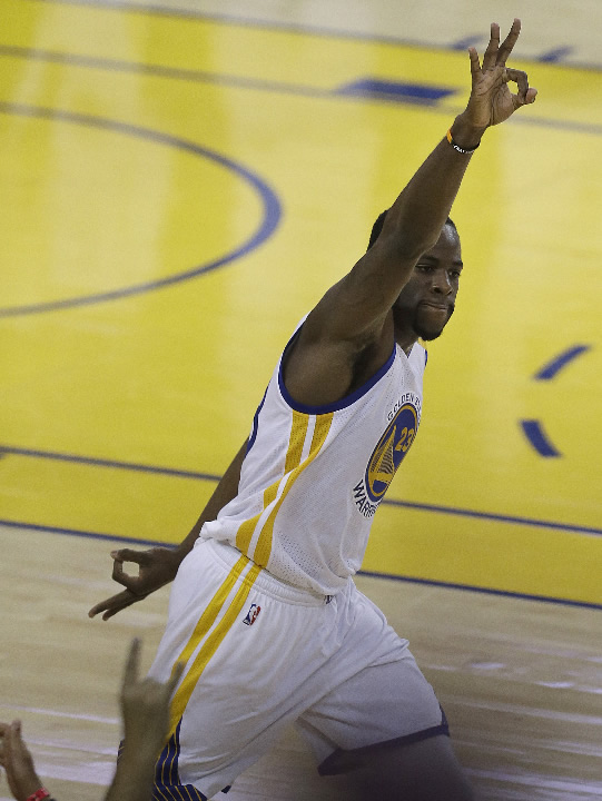 <div class='meta'><div class='origin-logo' data-origin='none'></div><span class='caption-text' data-credit='AP Photo/Ben Margot'>Warriors forward Draymond Green (23) gestures after scoring against the Cavs during the first half of Game 5 of basketball's NBA Finals in Oakland, Calif., Monday, June 12, 2017.</span></div>