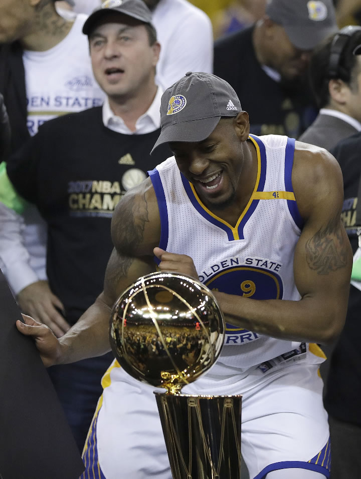 <div class='meta'><div class='origin-logo' data-origin='none'></div><span class='caption-text' data-credit='AP Photo/Marcio Jose Sanchez'>Warriors forward Andre Iguodala celebrates after Game 5 of the NBA Finals in Oakland, Calif., Monday, June 12, 2017. The Warriors won 129-120 to win the NBA championship. (</span></div>