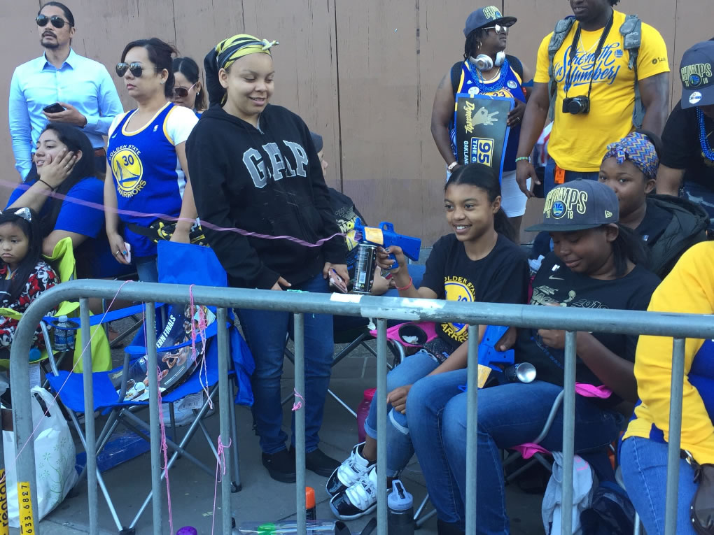 <div class='meta'><div class='origin-logo' data-origin='none'></div><span class='caption-text' data-credit='KGO-TV'>Fans are seen at the Warriors parade in Oakland, Calif. on Tuesday, June 12, 2018.</span></div>