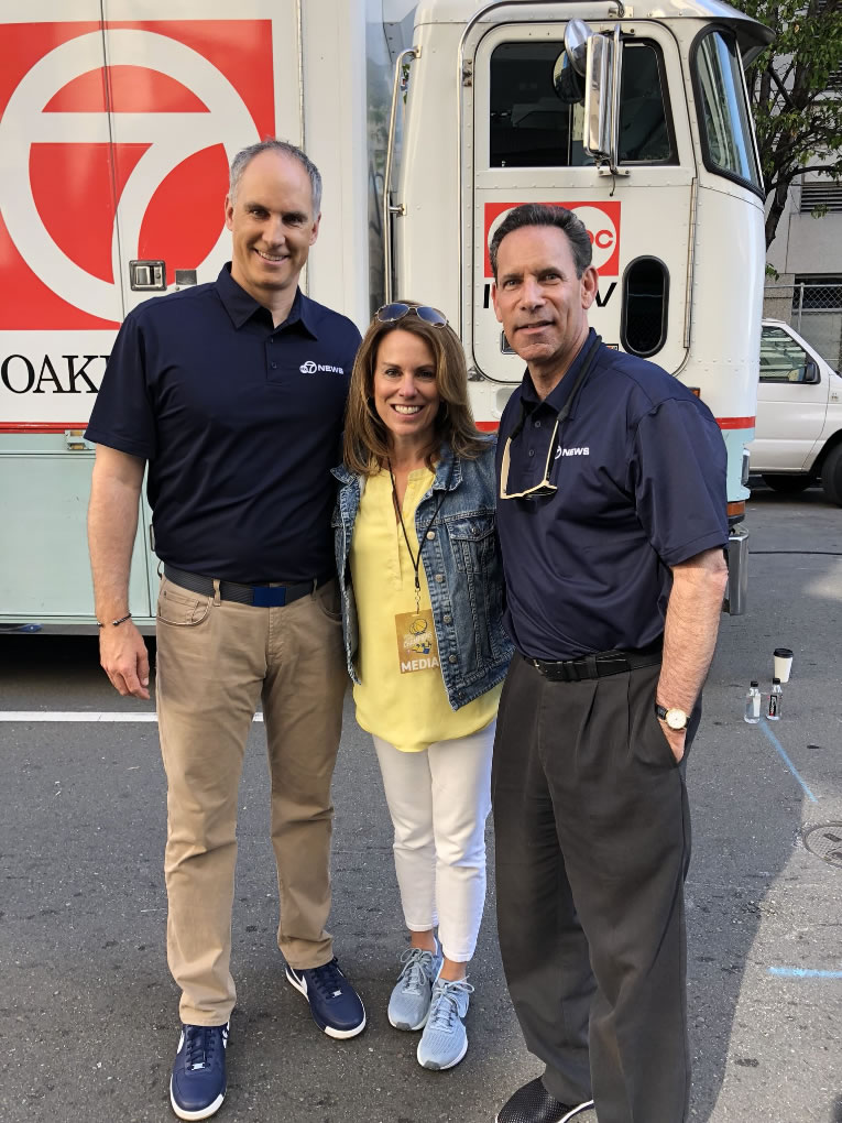 <div class='meta'><div class='origin-logo' data-origin='none'></div><span class='caption-text' data-credit='KGO-TV'>Kerry Keating is seen with ABC7's Mindi Bach and Larry Beil ahead of the Warriors parade in Oakland, Calif. on Tuesday, June 12, 2018.</span></div>