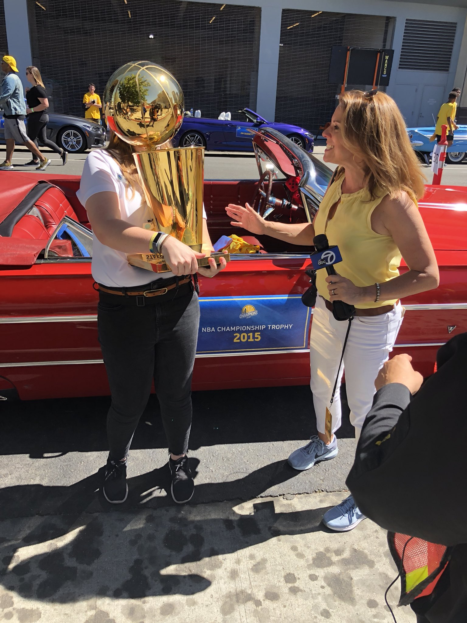 <div class='meta'><div class='origin-logo' data-origin='none'></div><span class='caption-text' data-credit='KGO-TV'>Mindi Bach spotted the Larry O'Brien Trophy while covering the Warriors victory parade on Tuesday, June 12, 2018 in Oakland, Calif.</span></div>