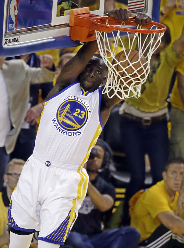 <div class='meta'><div class='origin-logo' data-origin='none'></div><span class='caption-text' data-credit='AP Photo/Eric Risberg'>Warriors forward Draymond Green dunks against the Cavaliers during Game 5 of the NBA Finals in Oakland, Calif., Sunday, June 14, 2015.</span></div>