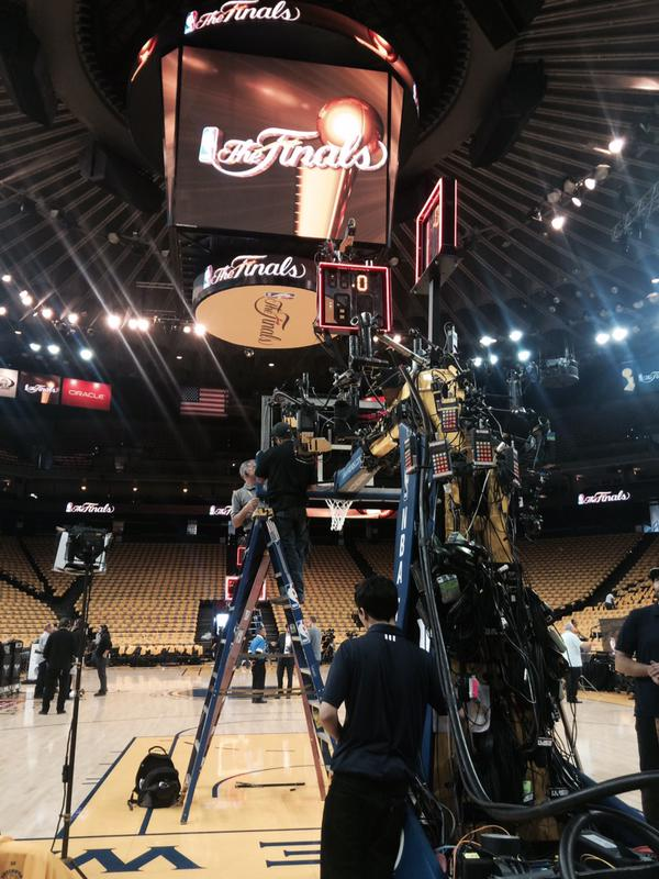 <div class='meta'><div class='origin-logo' data-origin='none'></div><span class='caption-text' data-credit='KGO-TV'>Crews at Oracle Arena strap cameras near the basketball hoops to get good closeup shots of slam dunks on Sunday, June 14, 2015.</span></div>