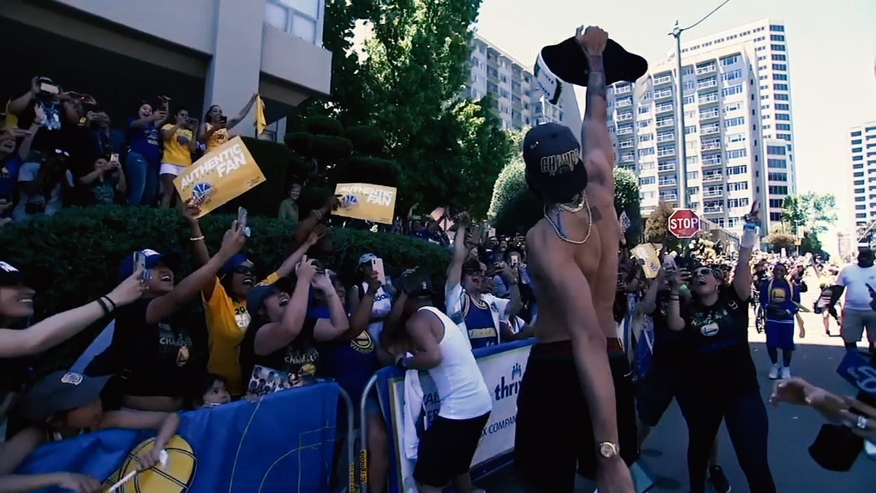 <div class='meta'><div class='origin-logo' data-origin='none'></div><span class='caption-text' data-credit='KGO-TV'>Javale McGee greets fans during the Warriors parade in Oakland on Tuesday, June 12, 2018.</span></div>