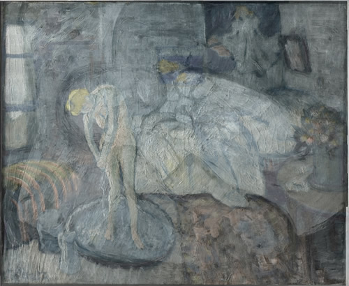 This undated handout image provided by The Phillips Collection shows the overlay of Picasso's The Blue Room, painted in 1901. (AP Photo/The Phillips Collection)