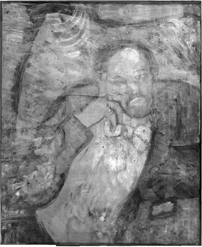 This undated handout image provided by The Phillips Collection shows an infrared image of Picasso's The Blue Room, painted in 1901. (AP Photo/The Phillips Collection)