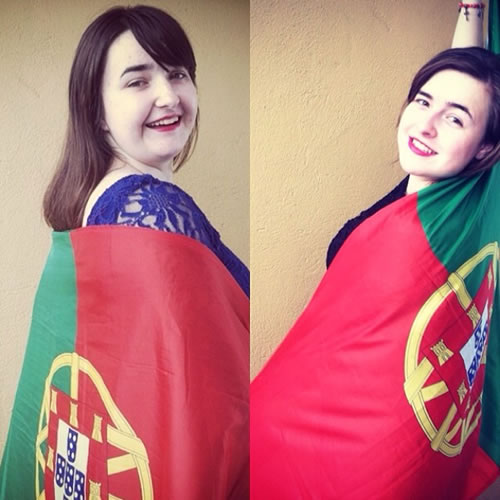 Portugal all the way! World Cup celebrations are happening all around the Bay Area. Send your fan photos to uReport@kgo-tv.com! <span class=meta>photo submitted by Breana and Brittni via uReport</span>
