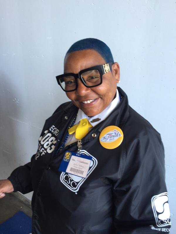 <div class='meta'><div class='origin-logo' data-origin='none'></div><span class='caption-text' data-credit='KGO-TV'>Oracle Arena's Thelma shows off her blue hair ahead of Game 5 of the NBA Finals in Oakland, Calif.</span></div>
