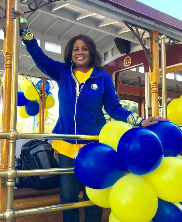 <div class='meta'><div class='origin-logo' data-origin='none'></div><span class='caption-text' data-credit='KGO-TV'>ABC7 News' Carolyn Tyler shows off her Dubs pride at the Warriors parade in Oakland, Calif. on Thursday, June 15, 2017.</span></div>