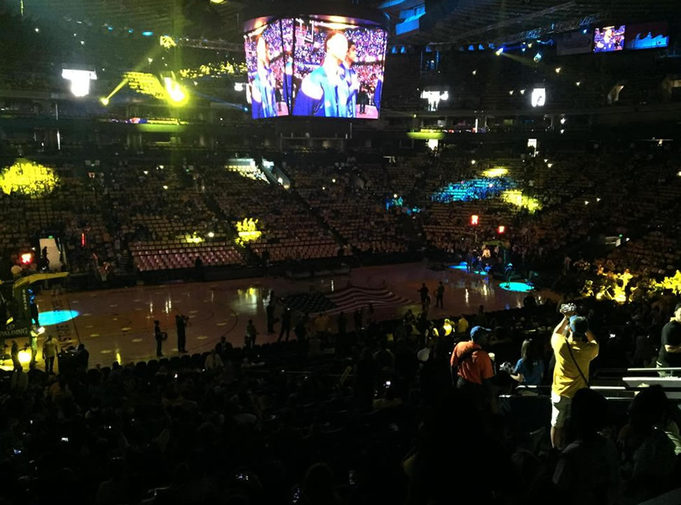 <div class='meta'><div class='origin-logo' data-origin='none'></div><span class='caption-text' data-credit=''>ABC7 News reporter Katie Utehs took this photo during the watch party at Oracle Arena on June 16, 2015. The crowd cheered for Steph Curry on the screen. (KGO-TV/ Katie Utehs)</span></div>
