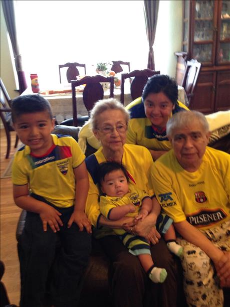 SF's very own Parada family - 3 generations - representing Ecuador!  World Cup celebrations are happening all around the Bay Area. Send your photos to uReport@kgo-tv.com! <span class=meta>photo submitted by Alex Parada via uReport</span>