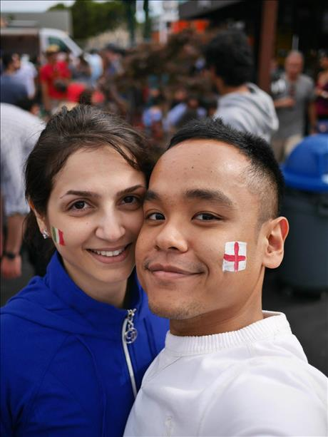 Mikhak and Kent cheer on Italy and England at SoMa StrEat Food Park in SF. World Cup celebrations are happening all around the Bay Area. Send your photos to uReport@kgo-tv.com!   <span class=meta>(photo submitted by Kent via uReport)</span>