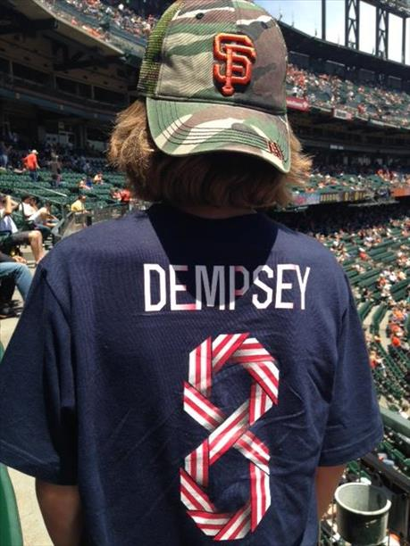 Torn between his Clint Dempsey World Cup Jersey and supporting the Giants...he did both!  World Cup celebrations are happening all around the Bay Area! <span class=meta>photo submitted by Mike Dempsey via uReport</span>