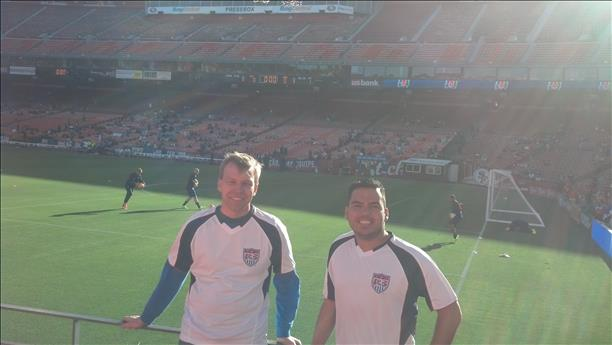 Tony and Eddie cheer on Team USA at Candlestick on May 27th, 2014. World Cup celebrations are happening all around the Bay Area. Send your photos to uReport@kgo-tv.com! <span class=meta>photo submitted via uReport</span>