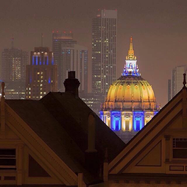 <div class='meta'><div class='origin-logo' data-origin='none'></div><span class='caption-text' data-credit='Photo submitted to KGO-TV by Caesar Jaime Castano/Facebook'>San Francisco City Hall lit up in Warriors colors! Tag pics on Twitter, Facebook, Google Plus and Instagram using #DubsOn7.</span></div>