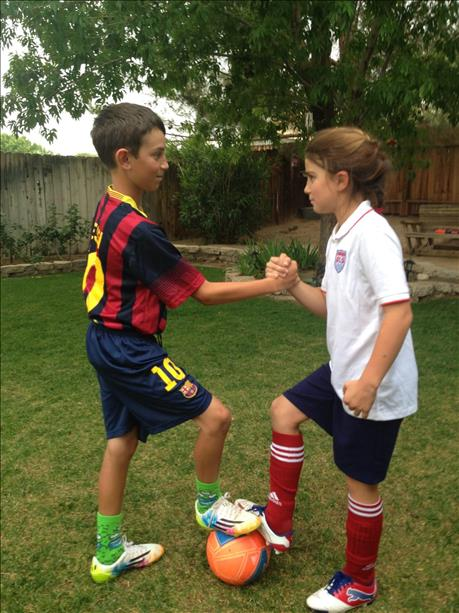 <div class='meta'><div class='origin-logo' data-origin='none'></div><span class='caption-text' data-credit='photo submitted by Angie via uReport'>Brother and sister ready to play! World Cup celebrations are happening all around the Bay Area.  Send your photos to uReport@kgo-tv.com</span></div>