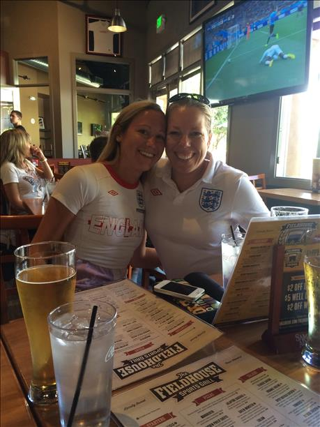 Cousins Gillian and Fiona show their support for England at Blackhawk Plaza in Danville.  Keep sending in your World Cup fan photos! <span class=meta>photo submitted by Gillian Vivatson via uReport</span>