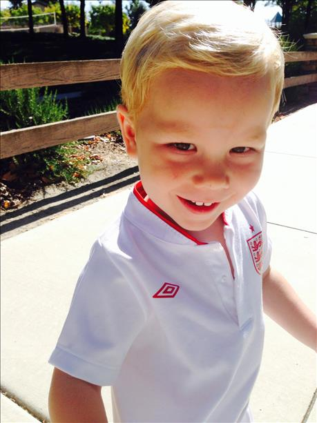 "<div class=""meta ""><span class=""caption-text "">Christian, age 2, in his England soccer kit!  Keep sending in your World Cup fan photos!   (photo submitted by Gillian Vivatson via uReport)</span></div>"