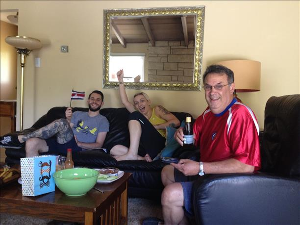 The Quesada and Shirley families celebrate a Costa Rica win.  Keep sending in your World Cup fan photos! <span class=meta>(photo submitted by moraeq via uReport)</span>