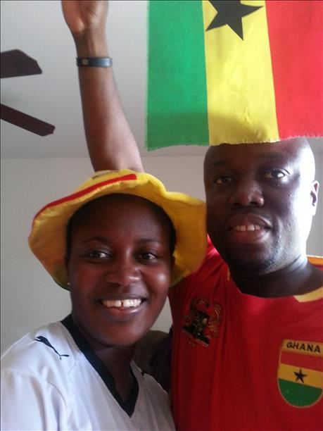 Ghana fans show team pride.  Keep sending in your World Cup fan photos! <span class=meta>photo submitted by Skelo via uReport</span>