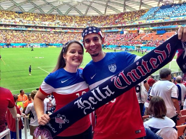 These fans took a bit of the Bay Area with them to support USA in Manaus: &#34;Hella United!&#34;  Keep sending in your World Cup fan photos! <span class=meta>photo submitted by Natalia and Ramon Valle via uReport</span>