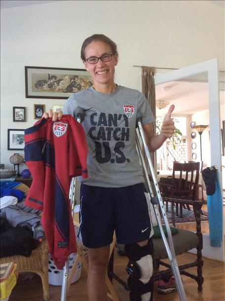 ACL surgery, 3rd one-same leg, and still cheering for USA!  keep sending in your World Cup fan photos! <span class=meta>photo submitted by Arlene Rusche via uReport</span>
