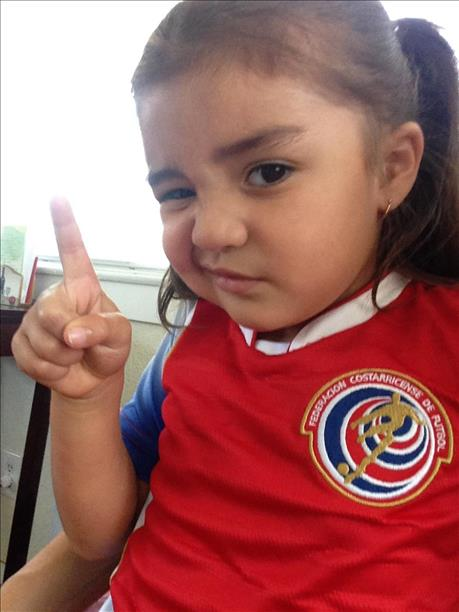 Amiliana R. rooting for her TICOS!  Keep sending in your World Cup fan photos! <span class=meta>photo submitted by Betsy Cordoba via uReport</span>