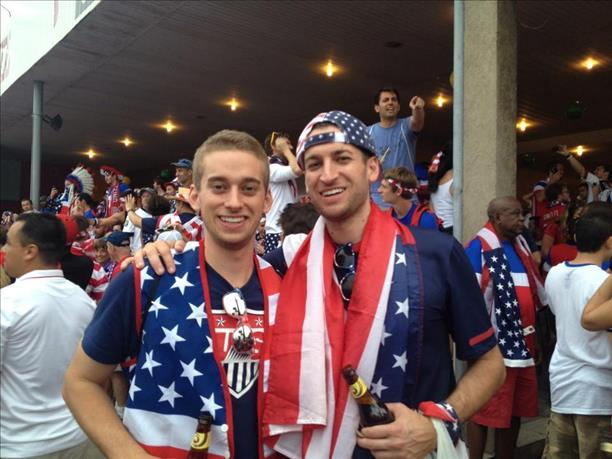 "<div class=""meta ""><span class=""caption-text "">San Francisco brothers have a tradition of attending the World Cup!  This photo was taken at the game against Ghana.  Keep sending in your World Cup fan photos! (photo submitted by Mallory via uReport)</span></div>"