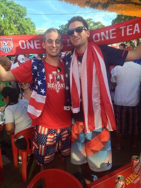"<div class=""meta ""><span class=""caption-text "">San Francisco brothers have a tradition of attending the World Cup!  This photo was taken at the game against Portugal.  Keep sending in your World Cup fan photos! (photo submitted by Mallory via uReport)</span></div>"
