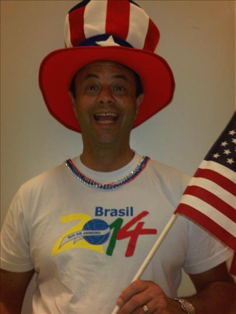 Alan Wingate is a big fan of USA and Brazil!  Keep sending in your World Cup fan photos! <span class=meta>photo submitted by Kathy Wingate via uReport</span>