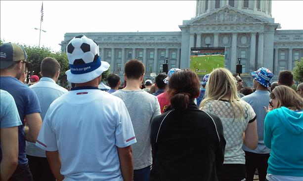 Fans watch the USA game on the big screen at the Civic Center. Keep sending in your World Cup fan photos! <span class=meta>(photo submitted by Jesenia Stewart via uReport)</span>
