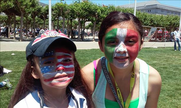 <div class='meta'><div class='origin-logo' data-origin='~ORIGIN~'></div><span class='caption-text' data-credit='photo submitted by Jesenia Stewart via uReport'>Jocelyn and Roxanna had their faces painted at Civic Center to show support for their favorite teams! Keep sending in your World Cup fan photos!</span></div>