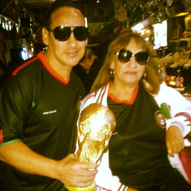 Celebrating a Mexico victory at El Farolito Bar on 24th & Mission St.  Keep sending in your World Cup fan photos! <span class=meta>photo submitted by Elsa via uReport</span>