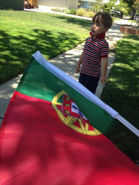 2-year-old Tyler S. torn between USA and Portugal.  Keep sending in your World Cup fan photos! <span class=meta>photo submitted via uReport</span>
